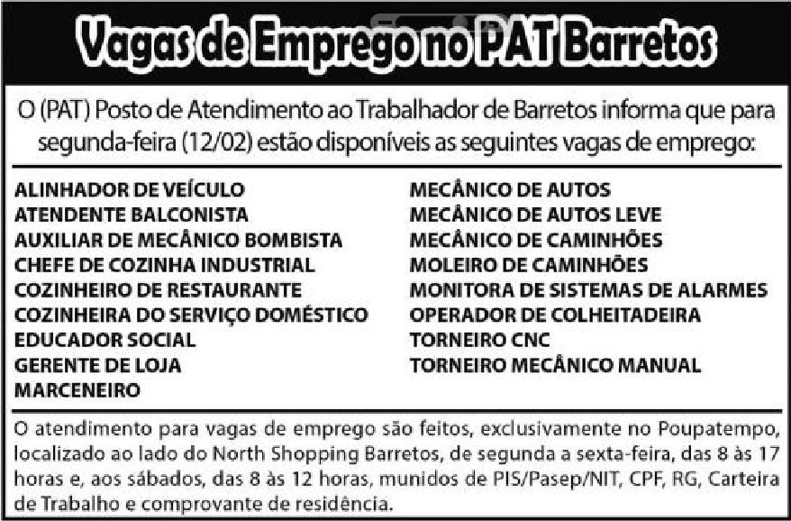 VAGAS DE EMPREGO DO PAT BARRETOS-SP  PARA 12/02/2018 (SEGUNDA-FEIRA)