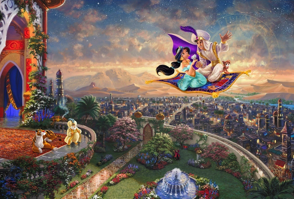 06-Aladdin-Thomas-Kinkade-Walt-Disney-Stories-Seen-Through-Paintings-www-designstack-co