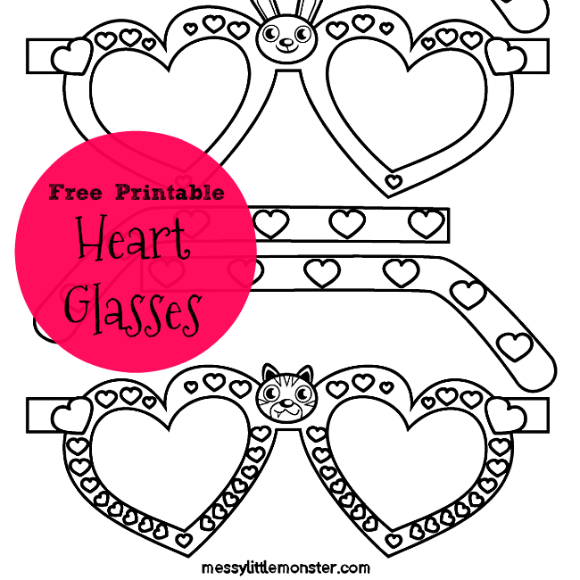 Free printable heart shaped glasses. A quick and easy Valentines day craft for kids. Simply colour and cut out the glasses and add a little glue.  Fun for preschooler and older children.