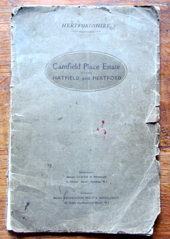 Photograph of the 1921 auction brochure for Camfield Place, part of The Peter Miller Collection