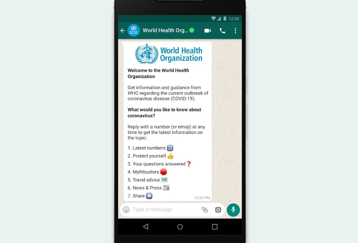 Here's how to get the right facts from WHO right in your Whatsapp messenger app