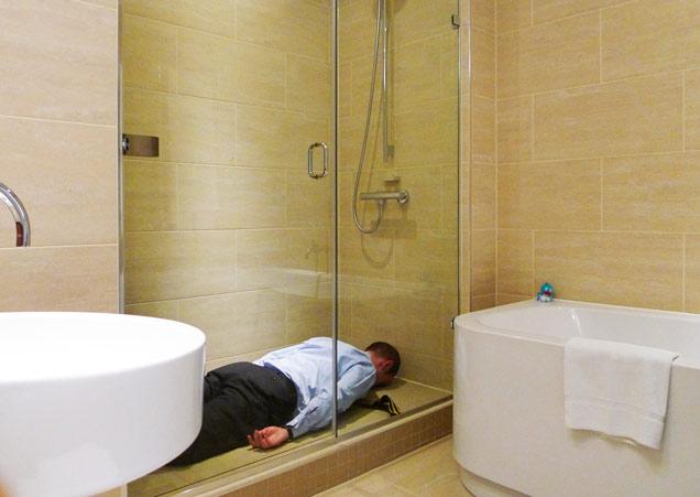 ducha, ideas, baño, hombre