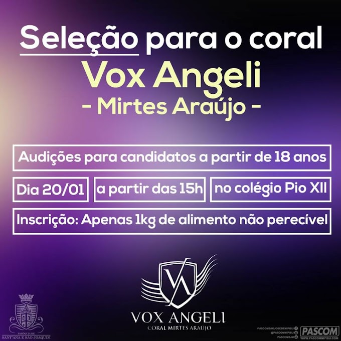 RESULTADO DA III AUDIÇÃO DO CORAL VOX ANGELI