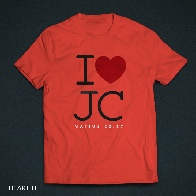 gambar preview kaos rohani 'I Heart JC' di warna dasar merah