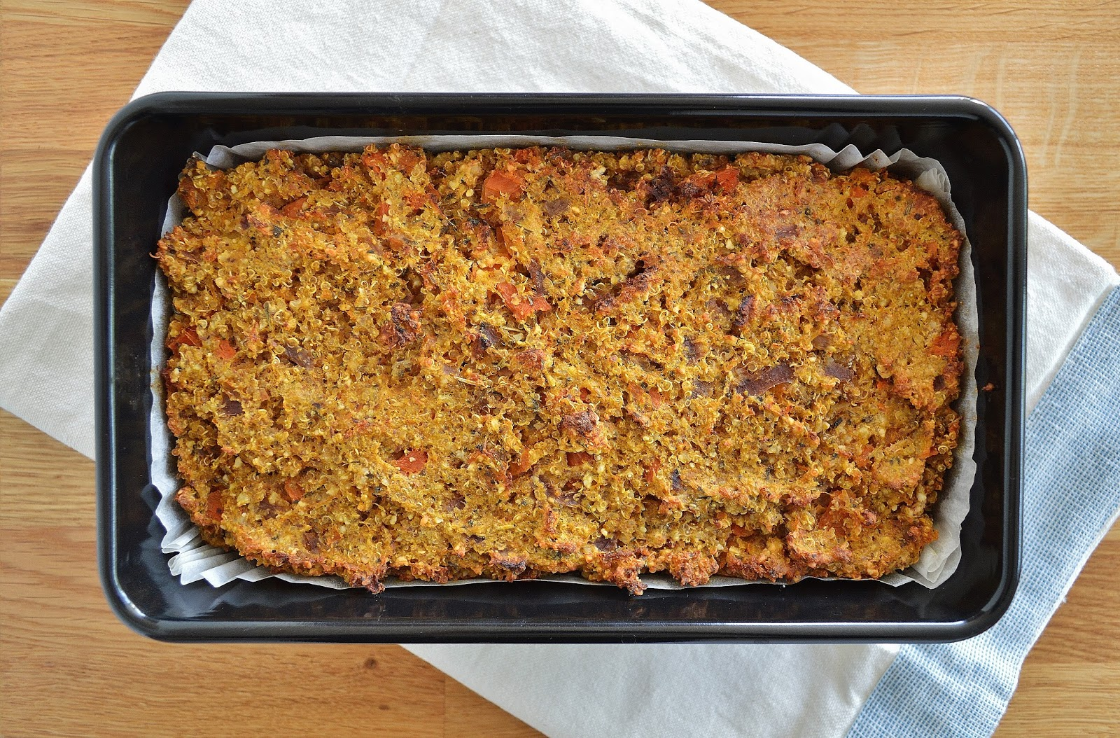 Butternut Squash, Carrot & Quinoa Nut Roast in loaf tin