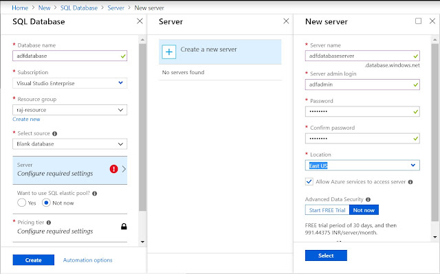 Configure an Azure SQL Server