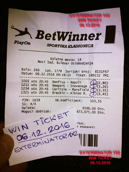 WIN TICKET FROM YESTERDAY 06.12.2016 TUESDAY