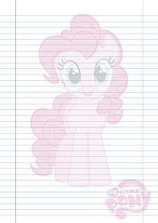 Folha Papel Pautado Little Poney da Pinkie Pie em PDF para imprimir na folha A4