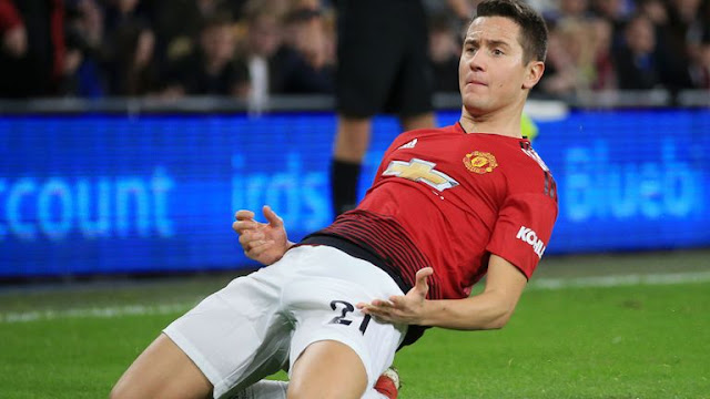 Ander Herrera Celebrates Manchester United goal against Cardiff City