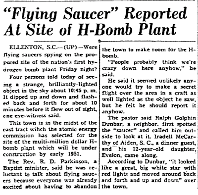 Flying Saucer Over Reported Over H-Bomb Plant - The Coshocton Tribune 12-3-1950