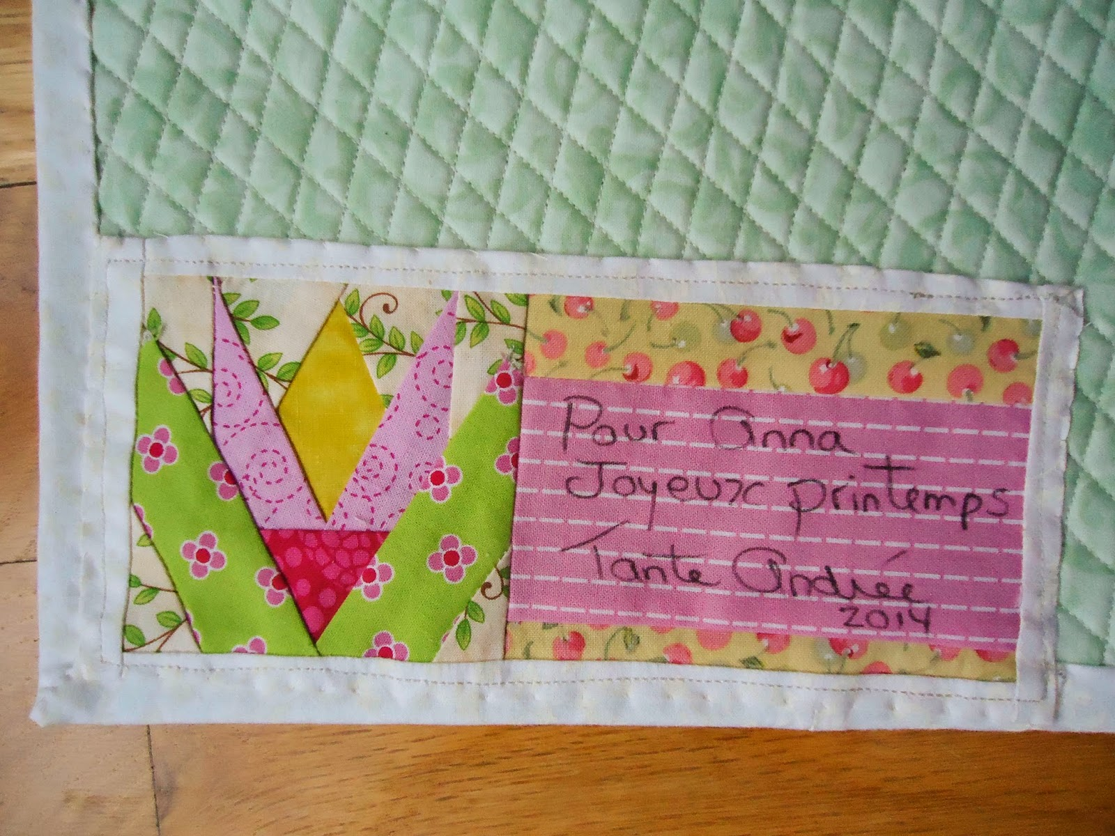 Paper-pieced Crocus Label