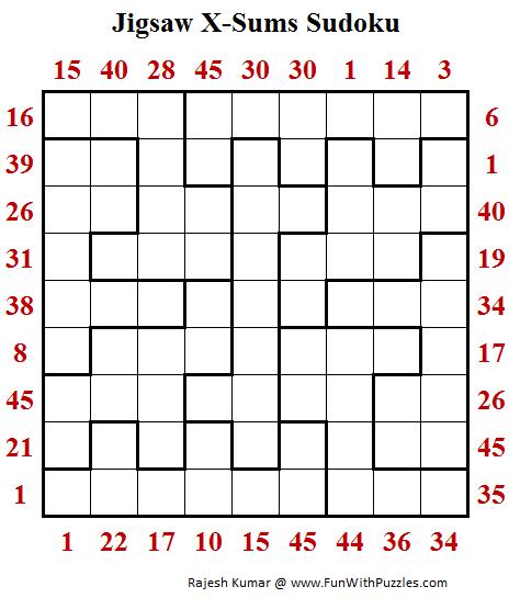 Jigsaw X-Sums Sudoku Puzzle (Fun With Sudoku 258)