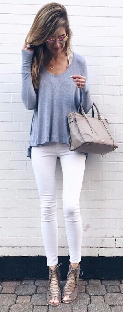the most perfect color combination: blue top + white jeans. Spring street style