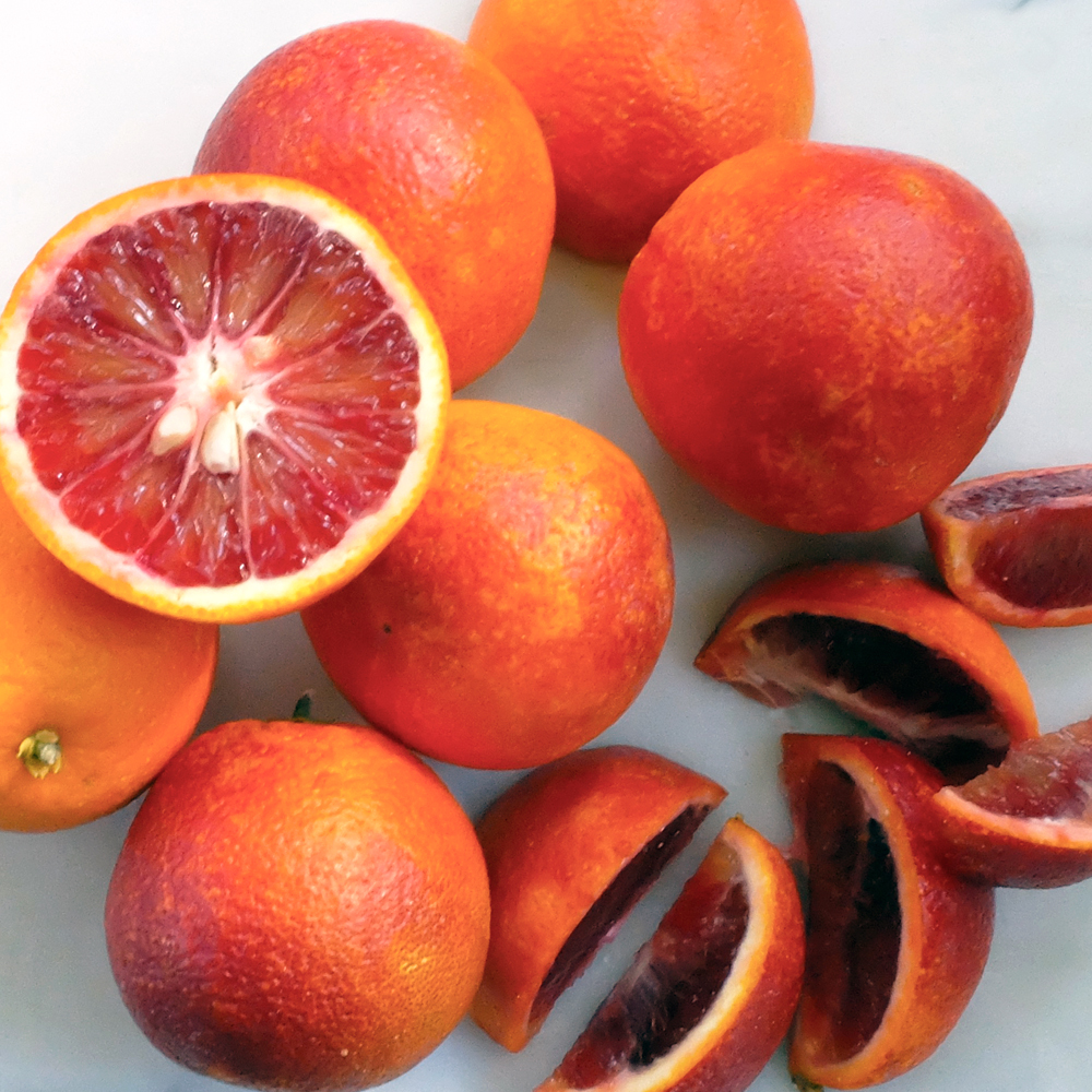 Blood oranges are in season during the winter months.