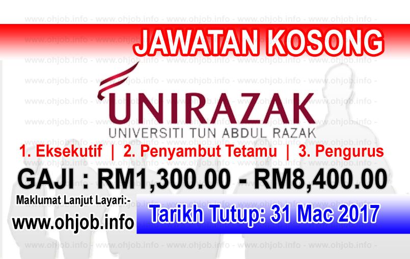 Jawatan Kerja Kosong UniRAZAK - Universiti Tun Abdul Razak logo www.ohjob.info mac 2017