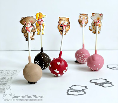 Cake Pop Toppers by Samantha Mann, Newton's Nook Designs, sweet treats, #newtonsnook #cakepops #toppers, Zig Clean Color Real Brush Markers