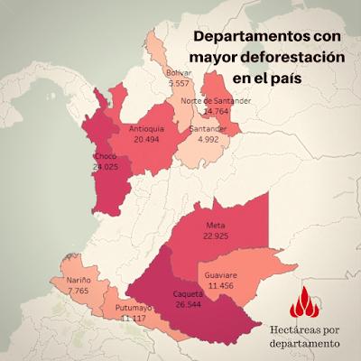 deforestación por departamentos en Colombia