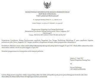 Open Rekrutmen Pemerintahan Terbaru April 2017 Dari Kementerian Koordinator Bidang Perekonomian Republik Indonesia 2017