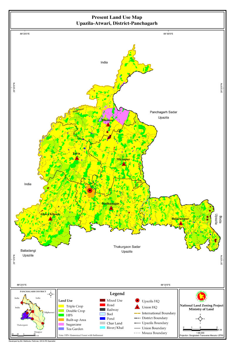 Atwari Upazila Mouza Map Panchagarh District Bangladesh
