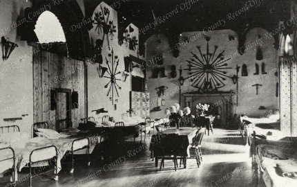 Photograph showing the Entrance Hall, Brancepeth Castle, in use as a hospital ward, c.1915 - 1919 (D/Ph 90/47)