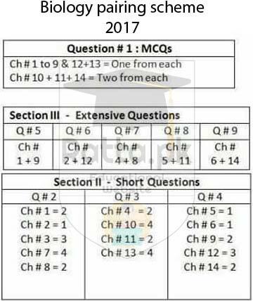 FSc 1st Year Biology Pairing Scheme/Assessment Scheme 2017
