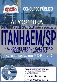 Comprar apostila para o concurso Prefeitura de Itanhaém-SP, para todos os cargos abertos