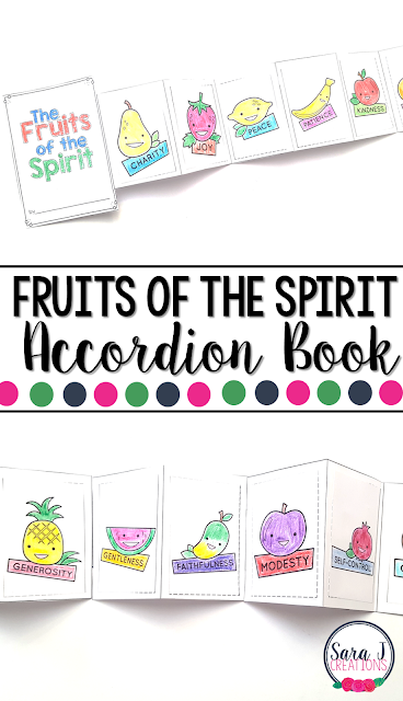 The Fruits of the Spirit  Mini Book is the perfect activity for teaching kids about the Catholic Fruits of the Spirit - charity, joy, peace, patience, kindness, goodness, generosity, gentleness, faithfulness, modesty, self-control and chastity
