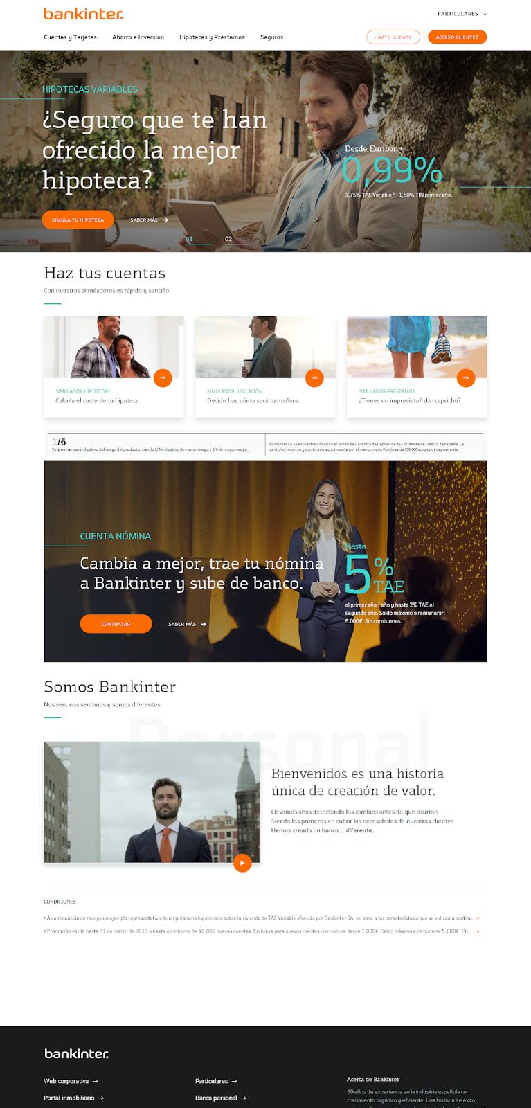 Página principal de Bankinter