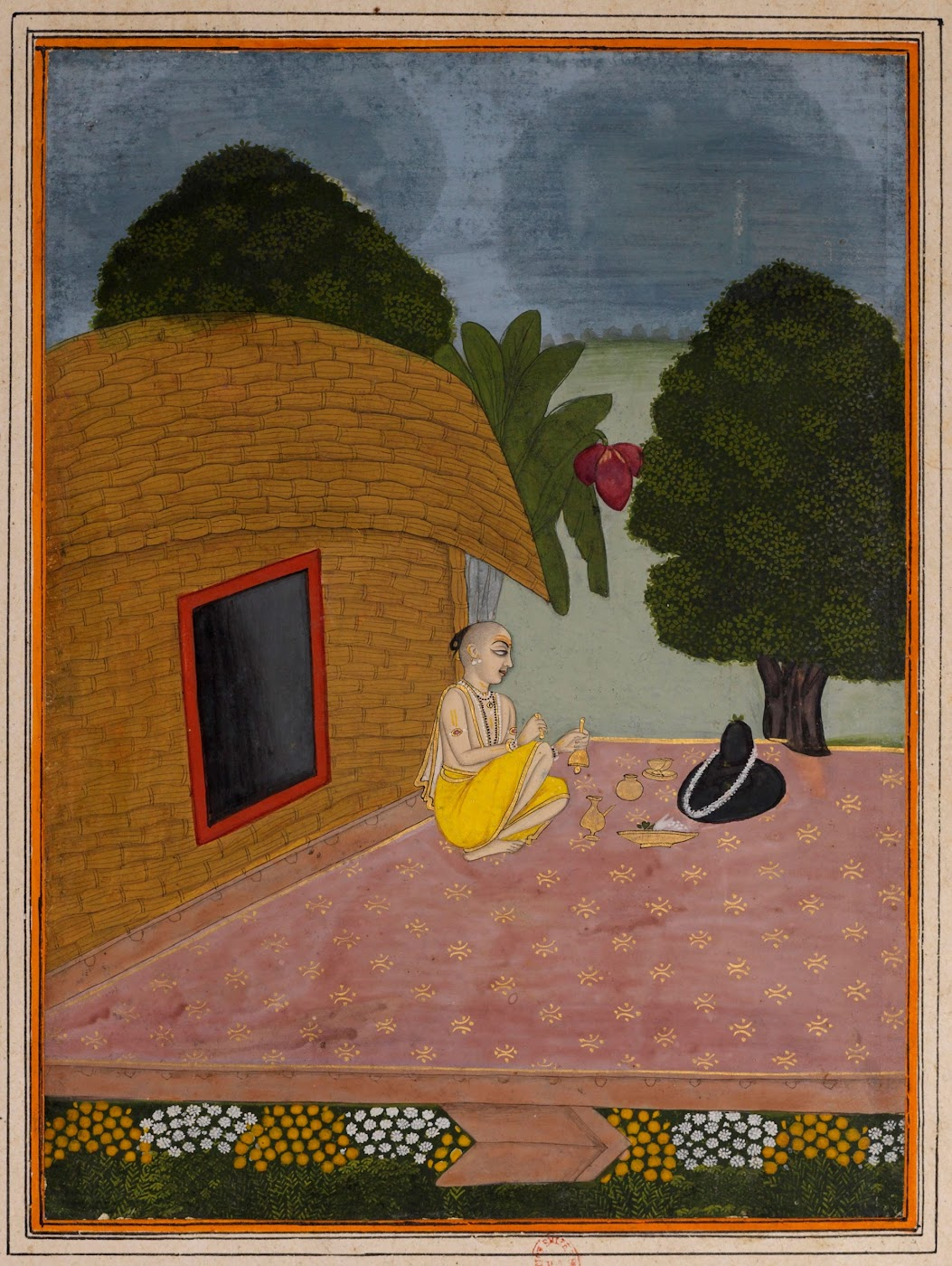 Man Worshipping Shiva Linga - Rajput Ragamala Painting from a Manuscript, Circa 1800