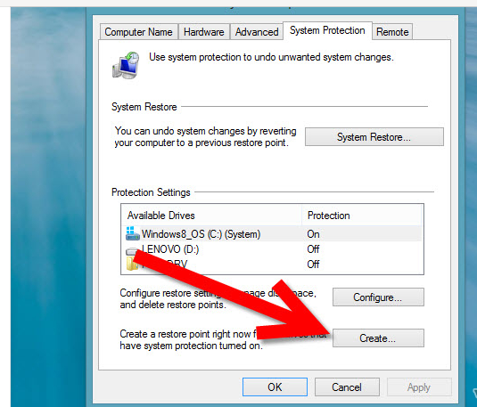 Create System Restore point in windows 8 step 3