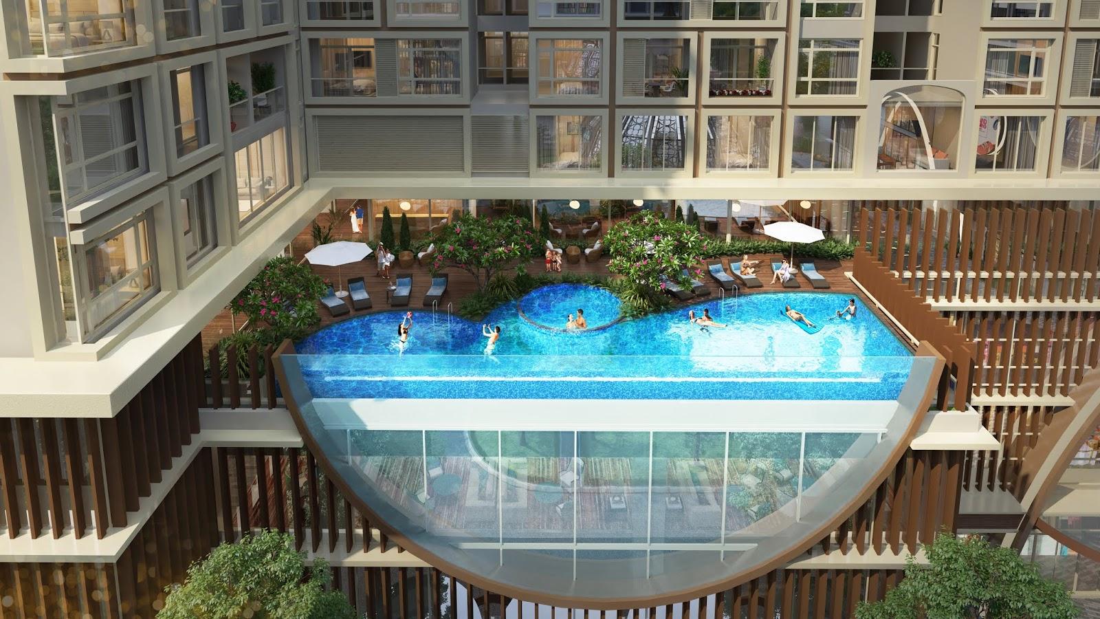Bể bơi ngoài trời tại tầng 4 toà Sachi