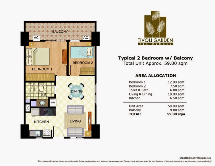 Tivoli Garden Residences 2 Bedroom Unit 59.00 sqm