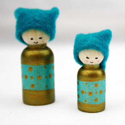 Teal Miniature Cornish Pixie Elves