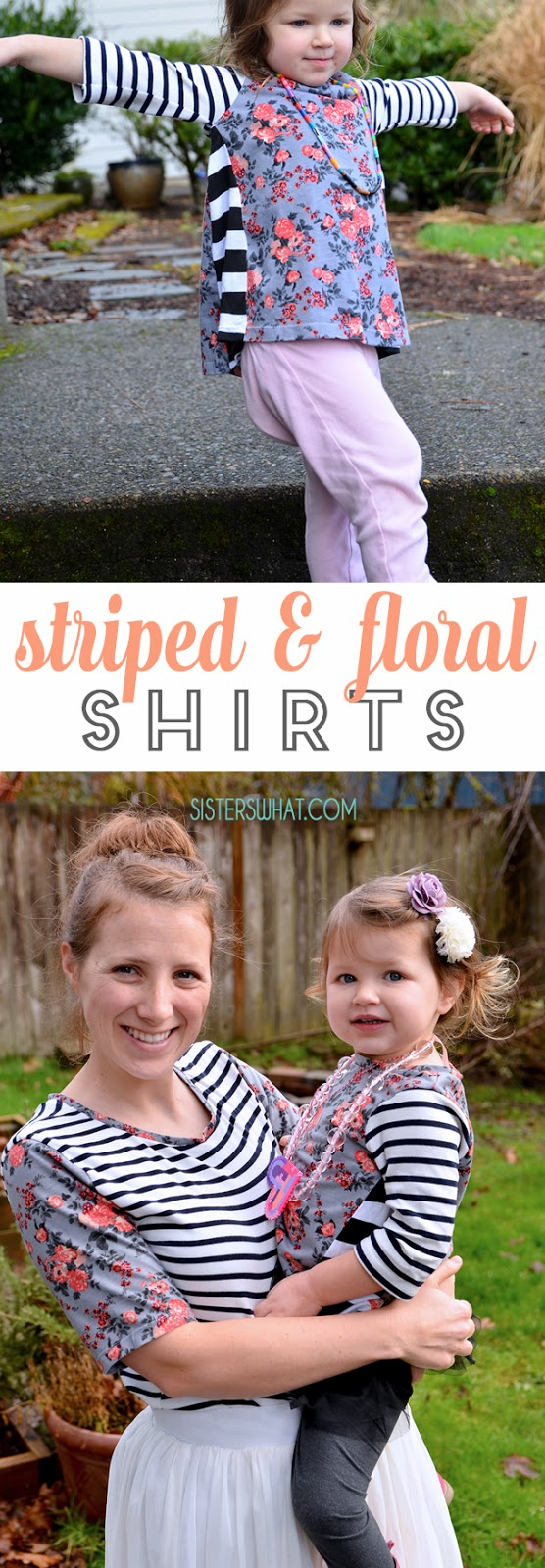 such an easy shirt refashion with striped and floral fabric! simply cut off an old shirt sleeves and add new sleeves with a different pattern fabric!!