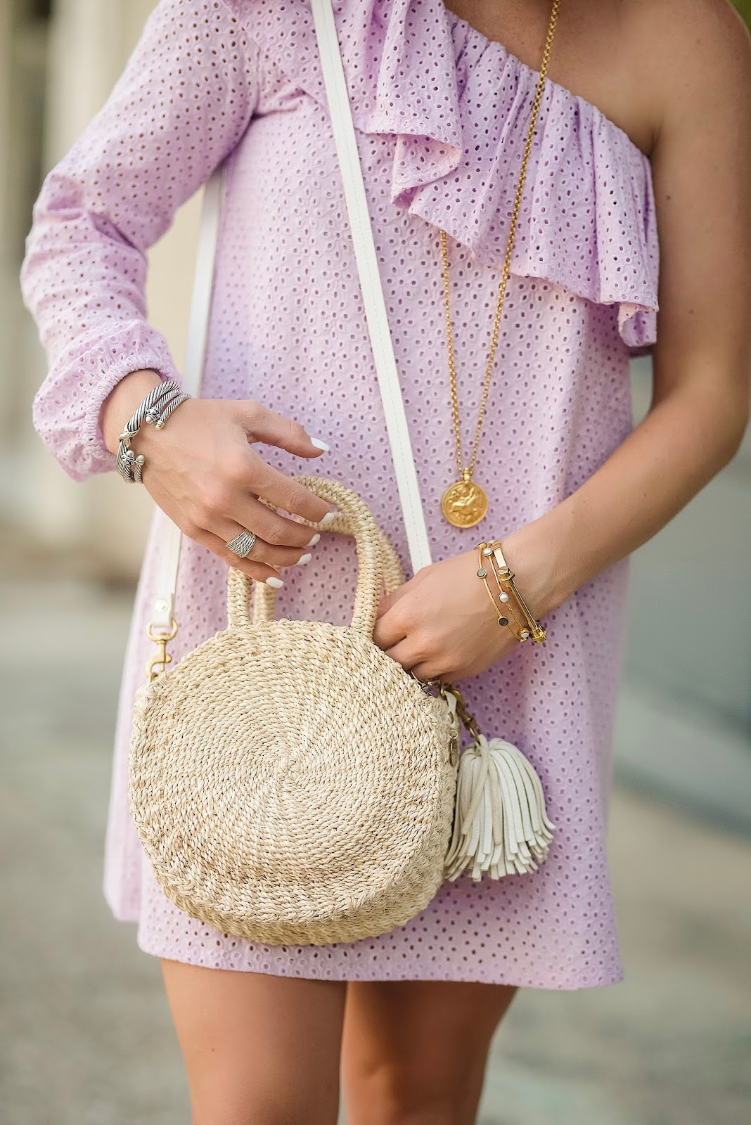 Under $100 Lavender Eyelet One Shoulder Dress + Clare V. Alice Bag - Something Delightful Blog