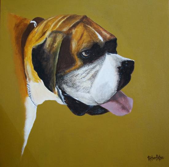 Boxer, painting by Dr. Kishor Batwe ( part of his portfolio on www.indiaart.com )