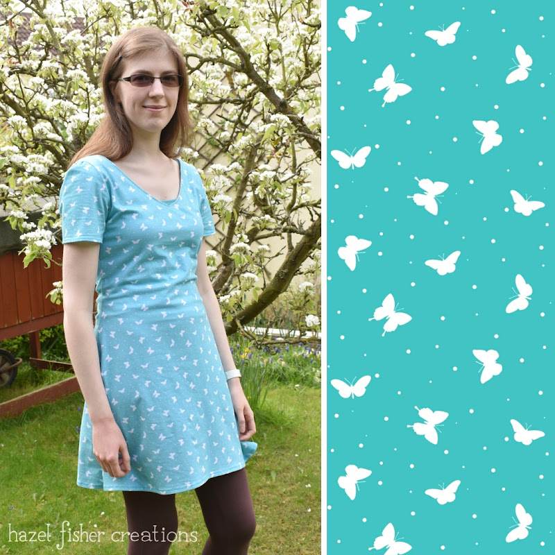 Jersey Dress, dressmaking, Butterfly fabric design by Hazel Fisher Creations