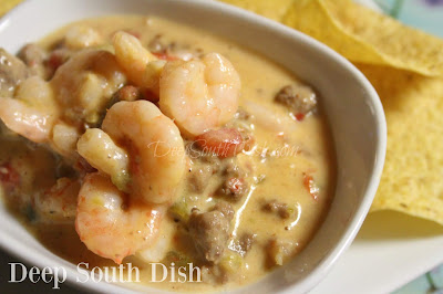 The classic Rotel Queso Dip, but made with sausage and shrimp!
