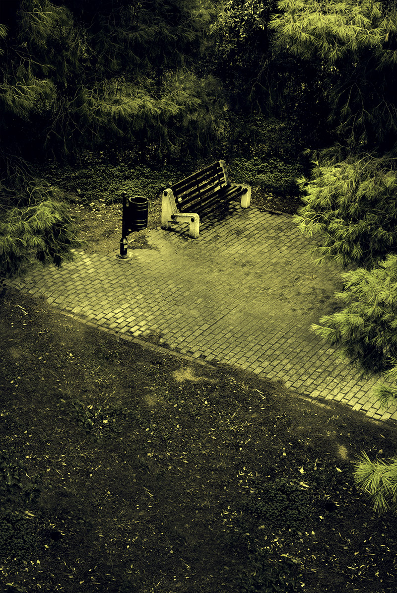 'Bench on a Pavement', a fine art photograph by Kostas Gogas, depicting a bench on a pavement surounded by heavy foliage. Harsh, green, desaturated colors.