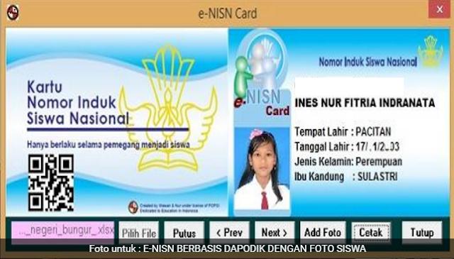 E-NISN Card Sesuai Dapodik dilengkapi Barcode dan Foto Siswa