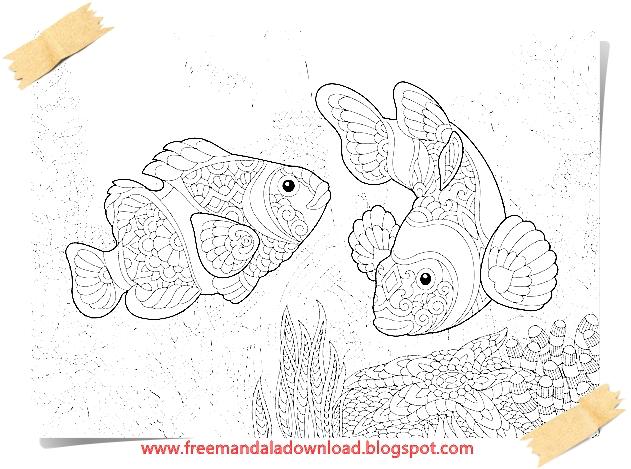 Free Mandala Download : Fisch Mandala Adult Färbung-Fish mandala ...