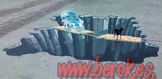 graffiti 3d en el suelo perro