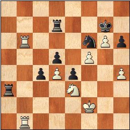 Partida de ajedrez O'Kelly - Francino, posición después de 50.Rf2