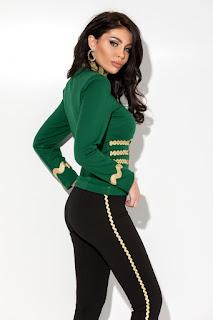 Jacheta verde cu pasmanterie aurie-2