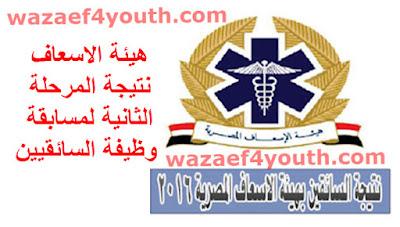 الان نتيجة مسابقة السائقين بهيئة الاسعاف المصرية بجميع المحافظات - اسماءالمقبولين والناجحين منشور بتاريخ 12-05-2016