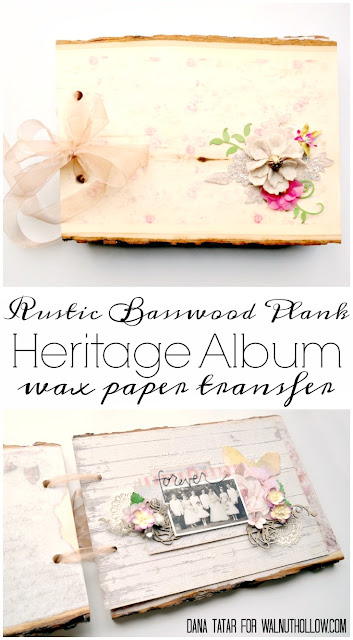 Rustic Basswood Plank Heritage Album with Wax Paper Transfer by Dana Tatar