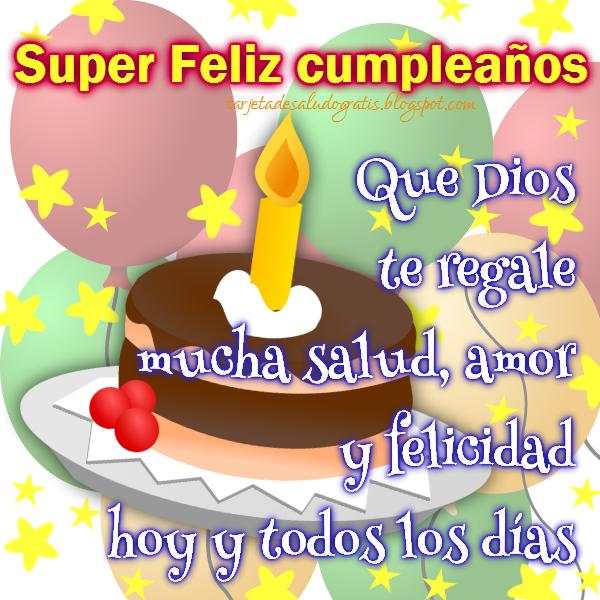 Postal de feliz cumpleaños con torta y bendición