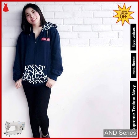 AND060 Jaket Wanita Jacket Supreme Biru Navy BMGShop