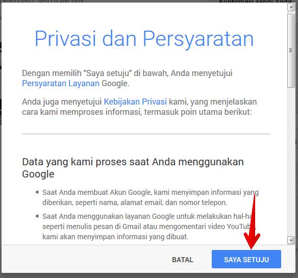 Privasi dan persyaratan akun gmail