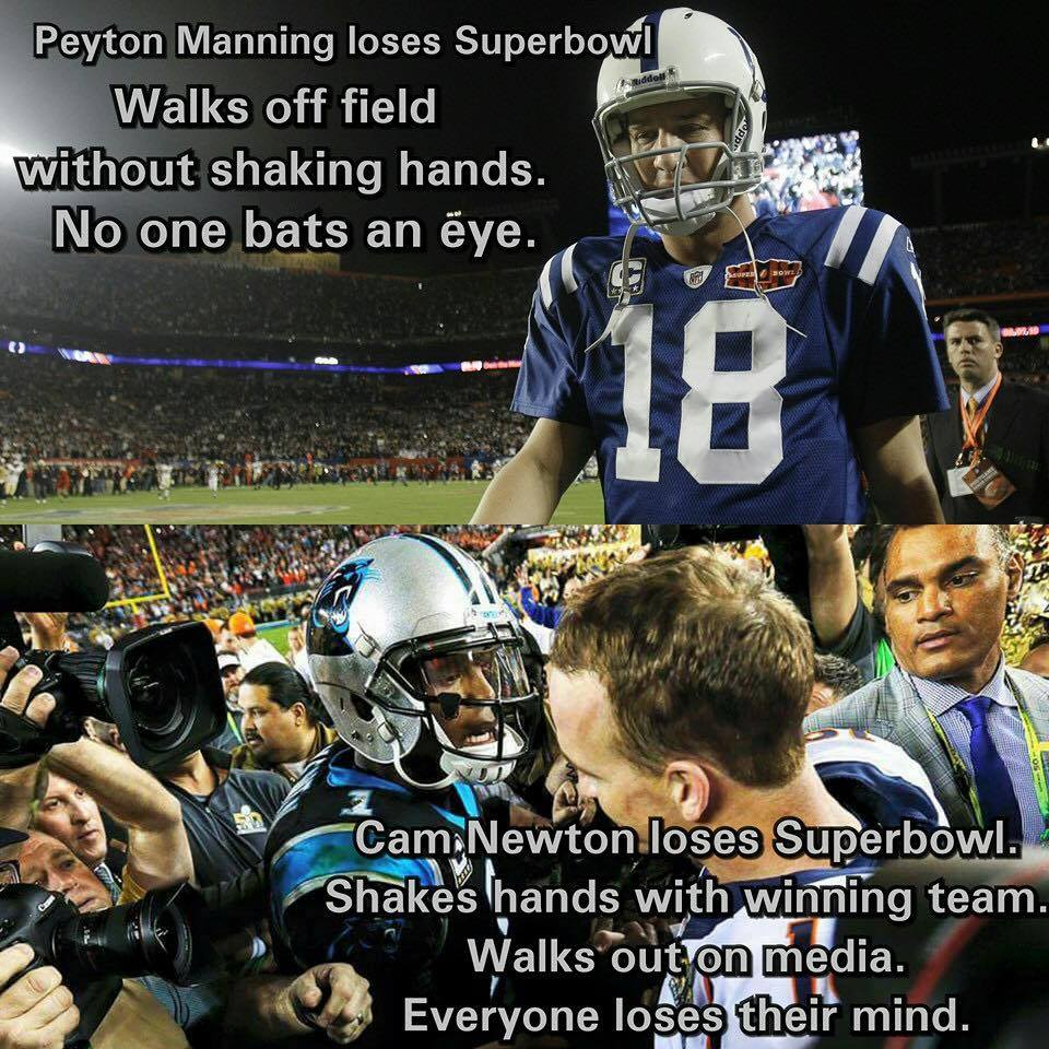 #Camnewton #PeytonManning #panthers #nfl.- peyton manning loses superbowl walks off field..